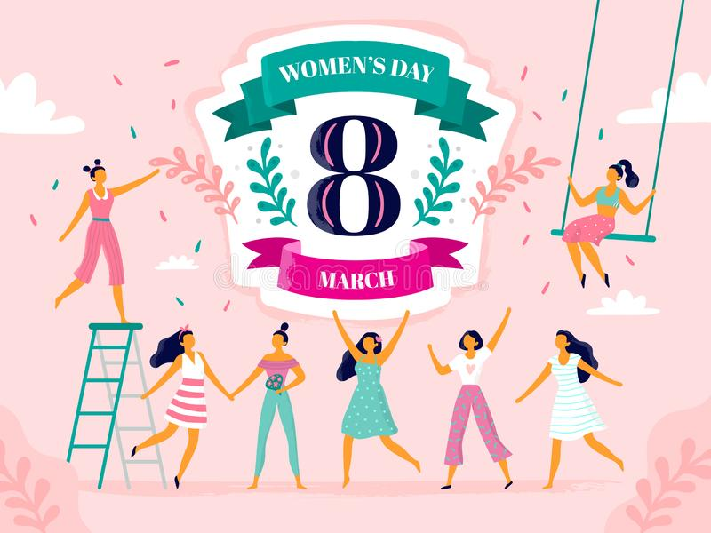 Celebrating womens day. Eight march celebration, happy laughing woman and international female holiday vector flat vector illustration