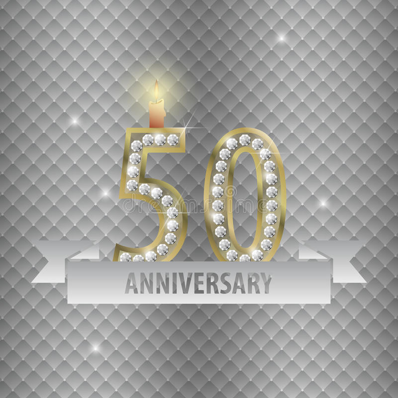 Celebrating 50 years anniversary. golden style. Vector.  stock illustration
