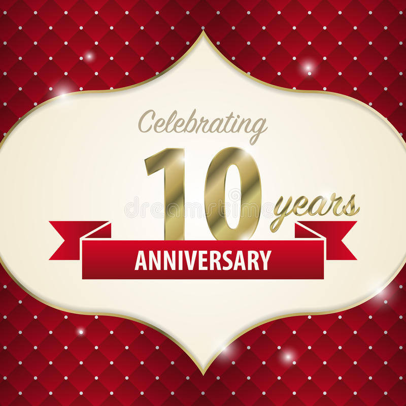 Celebrating 10 Years Anniversary Golden Style Vector