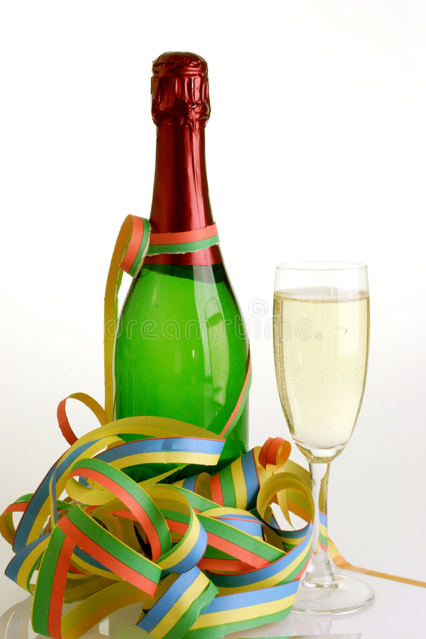 Celebration. Bottle champagner with a flute stock images