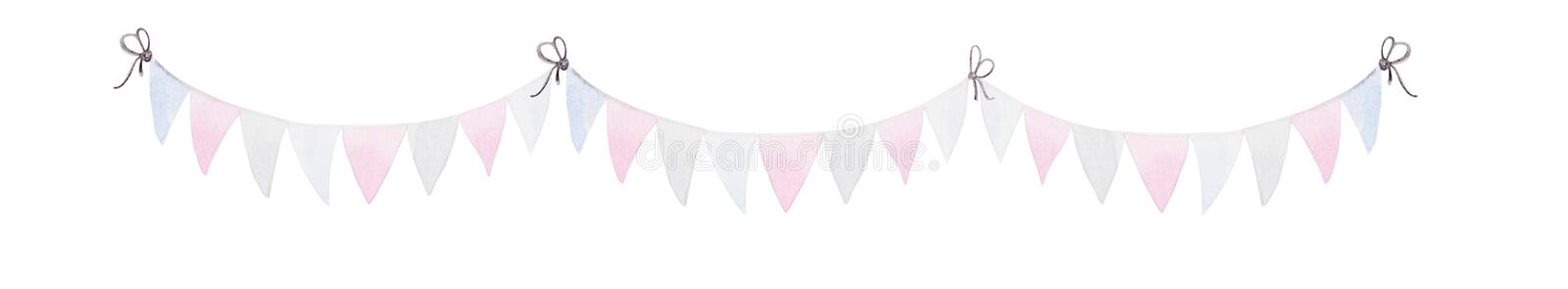 Celebration of American Independence Day. Watercolor Bunting Flags.  vector illustration