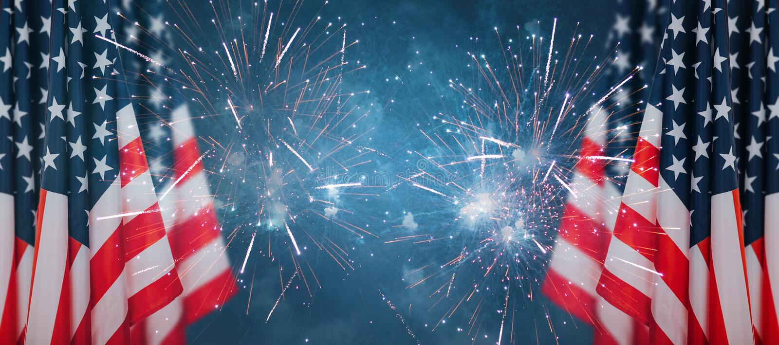 Celebration background for american holidays. American flag and fireworks royalty free stock photo