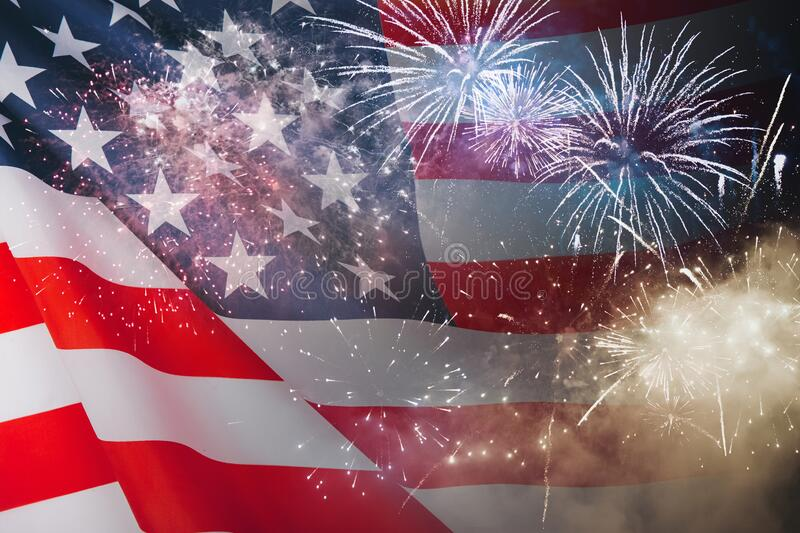 Celebration background for american holidays. American flag and fireworks royalty free stock photos