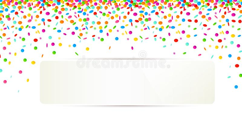 Celebration background with colorful confetti on white background and white banner for copy space. Vector illustration EPS10 royalty free illustration