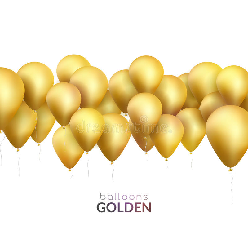 Celebration background with golden balloons. Vector banner for party invitation. royalty free illustration