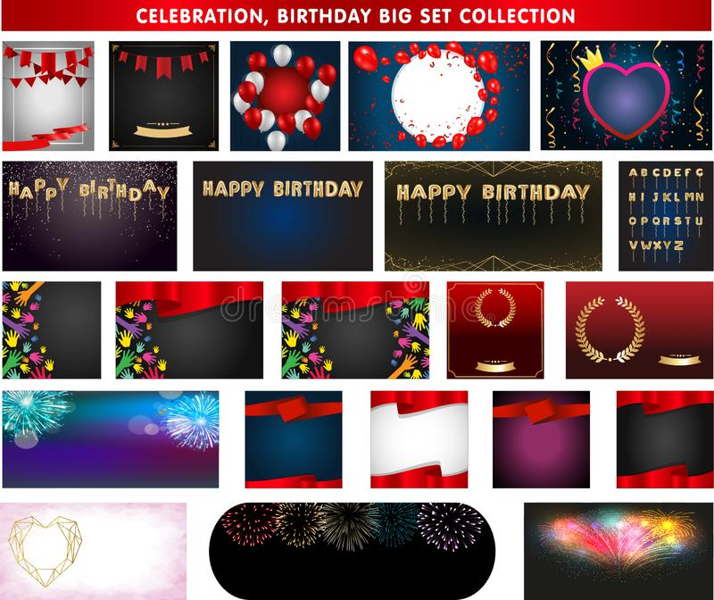 Celebration background templat, Confetti and ribbons flag ribbons,  Vector party balloons illustration. royalty free illustration