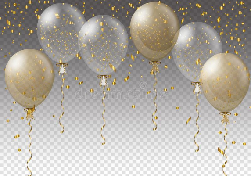Celebration background template with balloons, confetti and ribbons on transparent background. Vector illustration. royalty free illustration