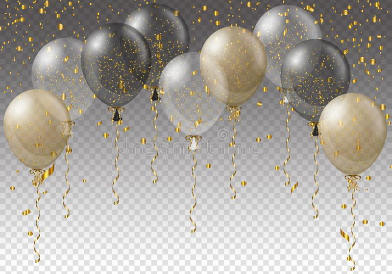 Celebration background template with balloons, confetti and ribbons on transparent background. Vector illustration. stock illustration