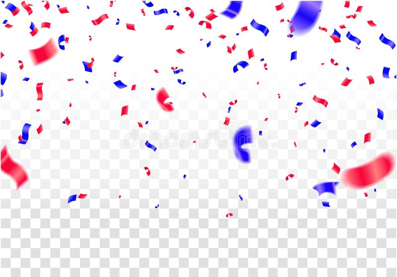 Celebration background template with confetti and red and blue r stock illustration