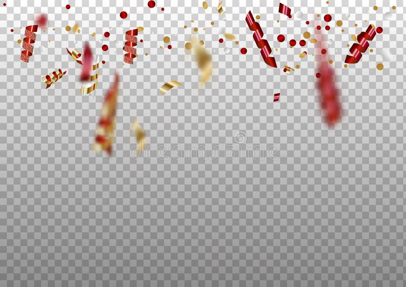 Celebration background template with confetti and red and gold ribbons. stock illustration