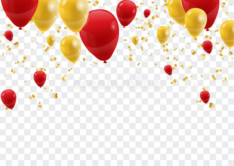 Celebration background template with confetti and ribbons and ba vector illustration