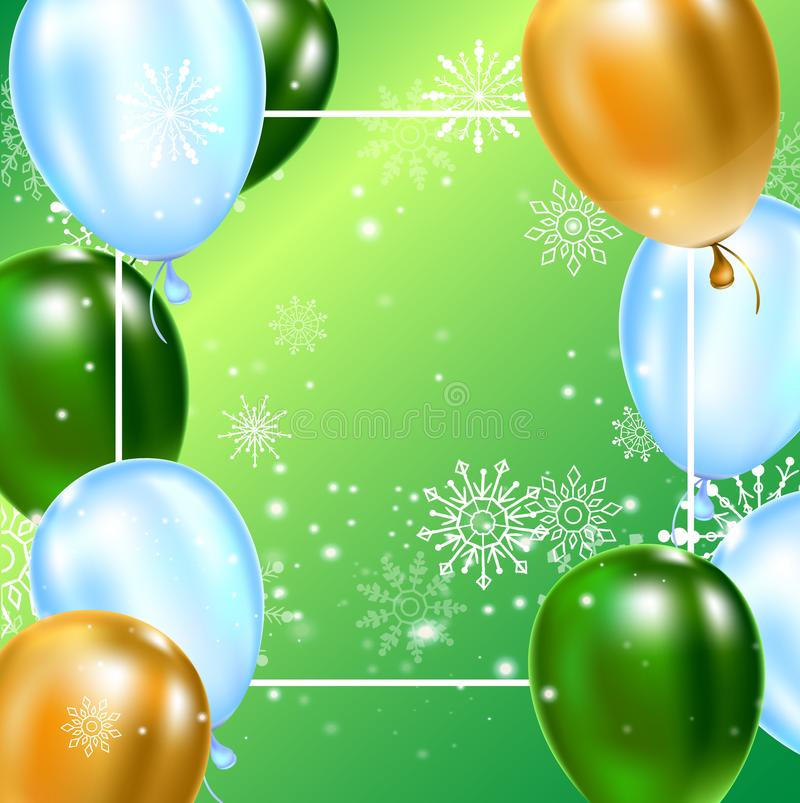 Celebration background template with balloons, confetti and snowflakes on green background. vector illustration
