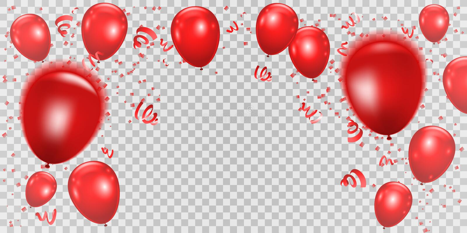 Celebration background wiht red balloons and ribbons. Vector ill royalty free illustration