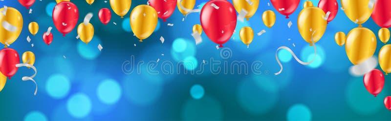 celebration balões dourados e vermelhos lustrosos com escuro - fundo azul do feriado com bokeh e a serpentina de brilho coloridos ilustração stock