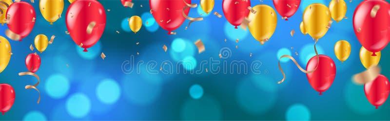 celebration balões dourados e vermelhos lustrosos com escuro - fundo azul do feriado com bokeh e a serpentina de brilho coloridos ilustração royalty free