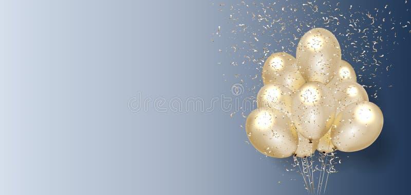 Celebration banner with Gold balloons background. vector illustration