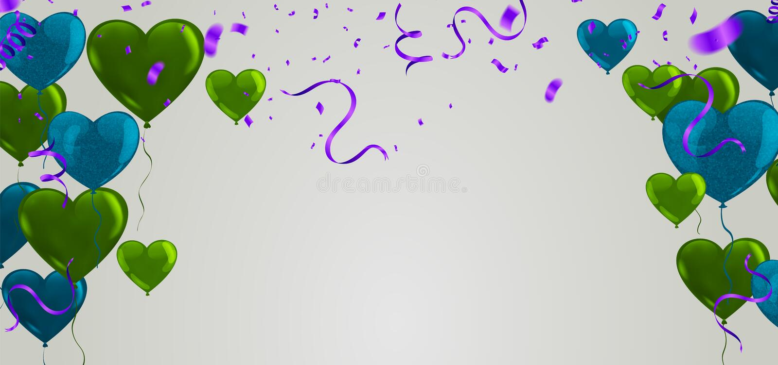 Celebration banner with green balloons background and Saint Patrick`s Day party stock illustration
