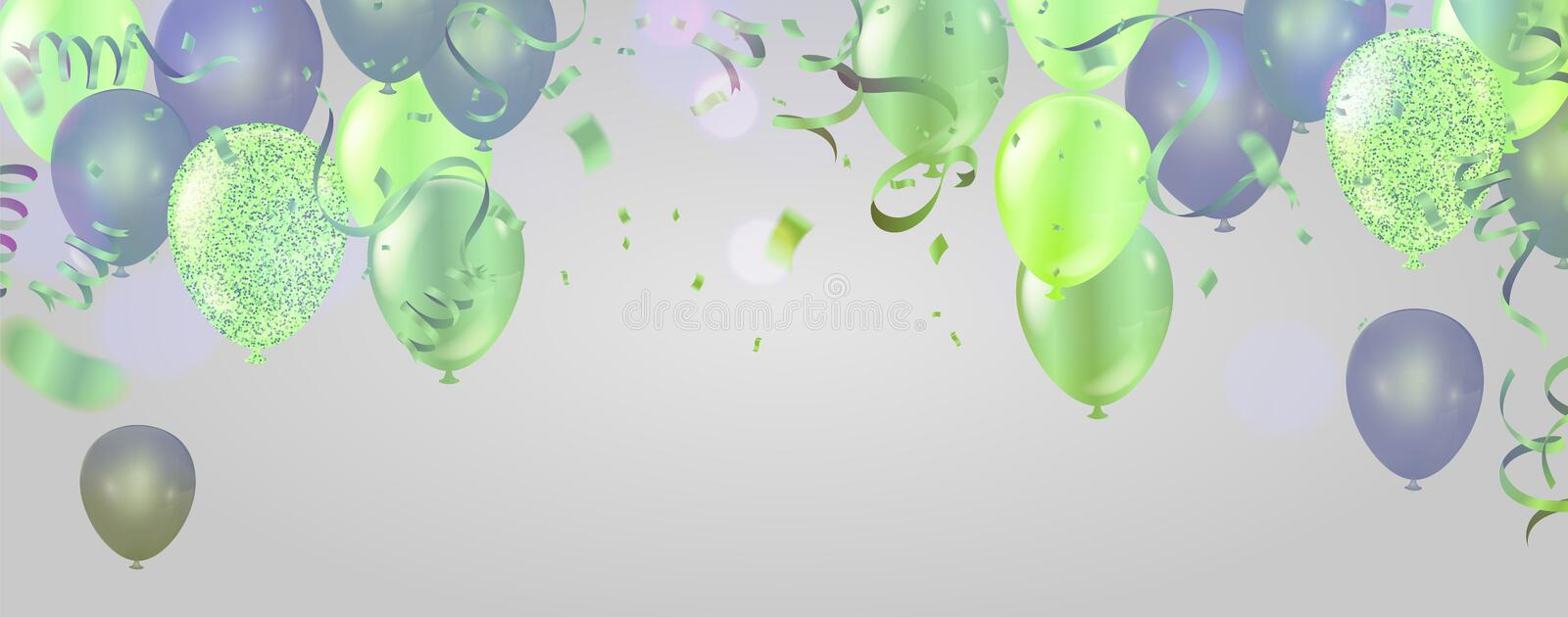 Celebration banner with green balloons background and Saint Patrick`s Day party vector illustration