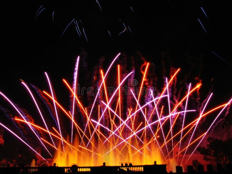 Celebration in Barcelona. Colorful fireworks over dark sky, displayed during Barcelona Patron Saint La Merce (24th of september stock photo
