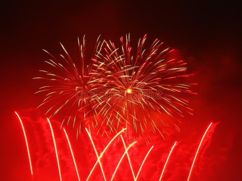 Celebration in Barcelona. Colorful fireworks over dark sky, displayed during Barcelona Patron Saint La Merce (24th of september stock photos