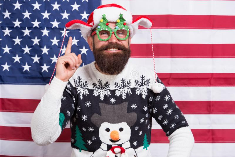 Celebration begins with idea. Happy santa keep finger raised. Bearded man smile in winter style. Festive winter party. Winter season. Winter holidays stock photo