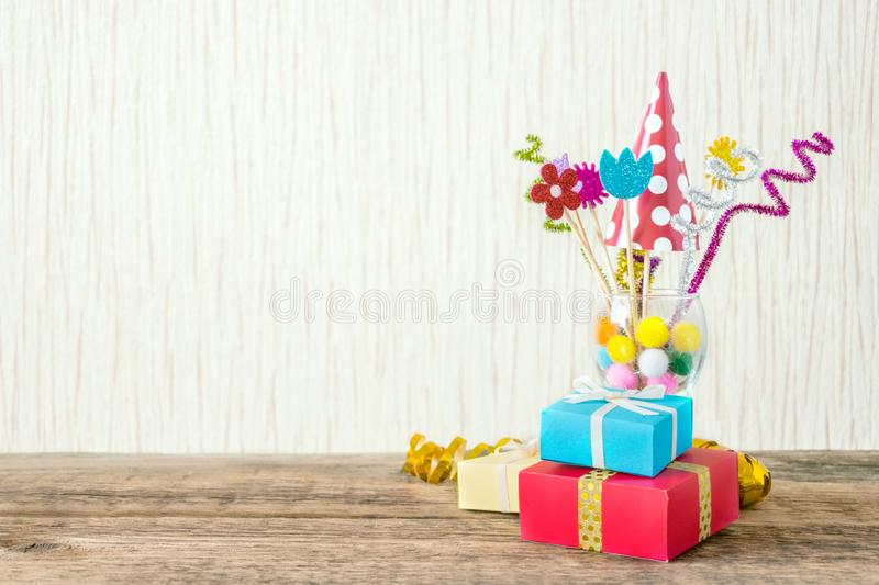 Celebration, Birthday party background with colorful party hat, royalty free stock images