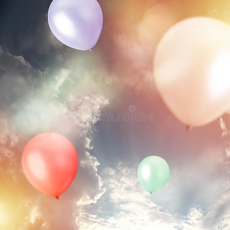 Celebration, Birthday Party - Balloons outside. Balloons outside - Celebration, Birthday Party concept stock photography