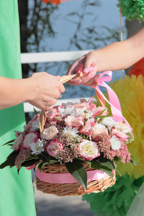 Celebration bouquet in women hands stock photography