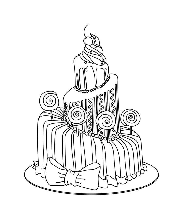 Celebration Cake Sketch Stock Vector Illustration Of
