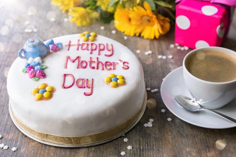 Celebration cake writing `Happy Mother`s Day` stock photography