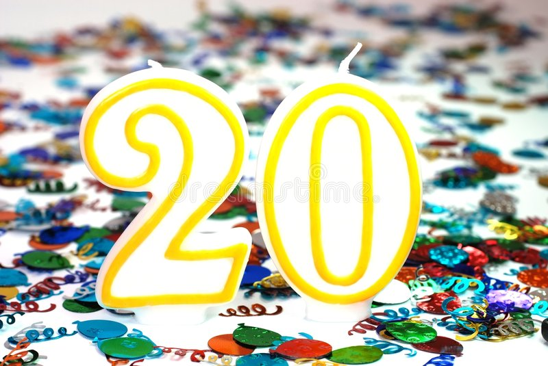 Celebration Candle - Number 20 stock photography