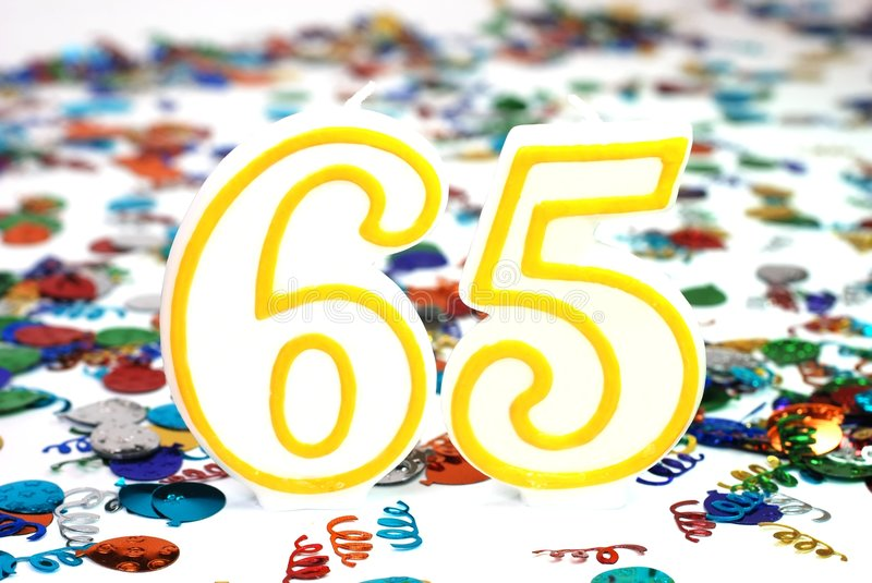 Celebration Candle - Number 65 royalty free stock photography
