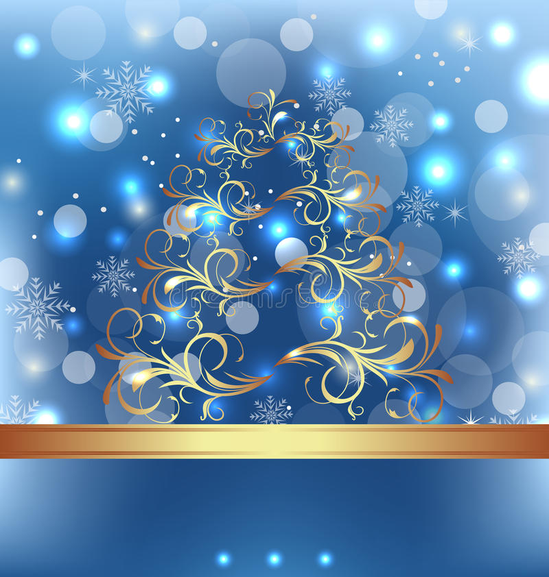 Celebration card with Christmas floral tree royalty free illustration