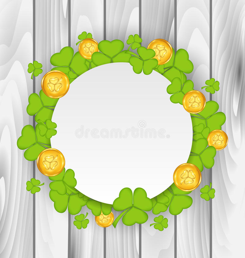 Celebration card with clovers and golden coins for St. Patricks vector illustration