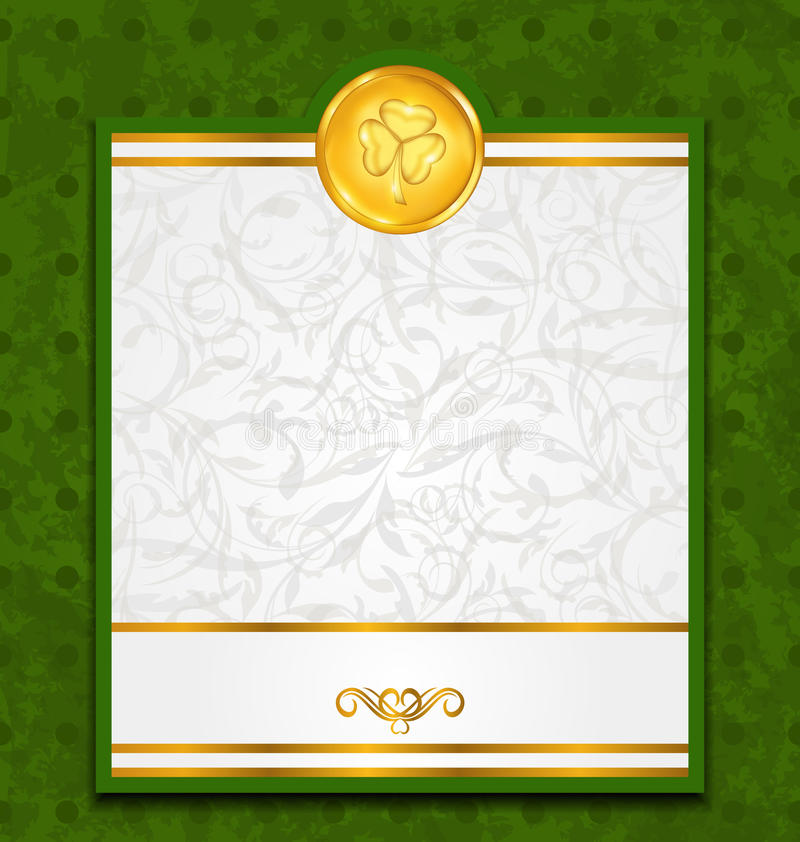 Celebration card with coin for St. Patricks Day. Illustration celebration card with coin for St. Patricks Day - vector stock illustration