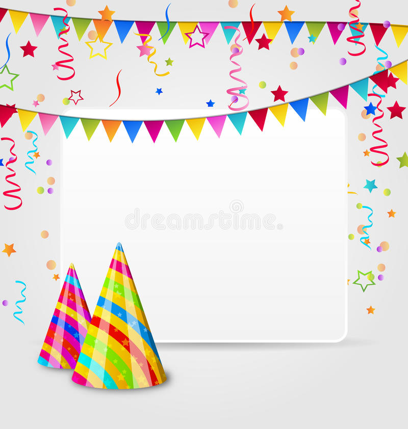 Celebration card with party hats, confetti and han stock illustration