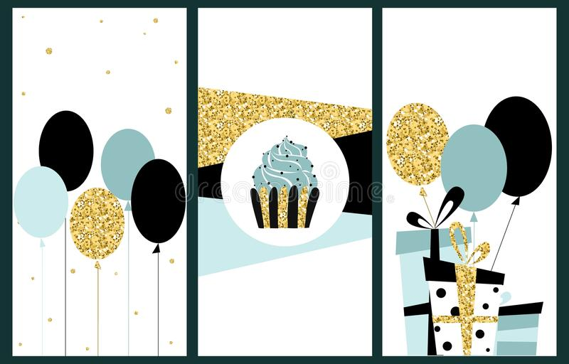 Celebration cards background. Birthday, wedding, party hand draw. N vector illustration in scandinavian style royalty free illustration