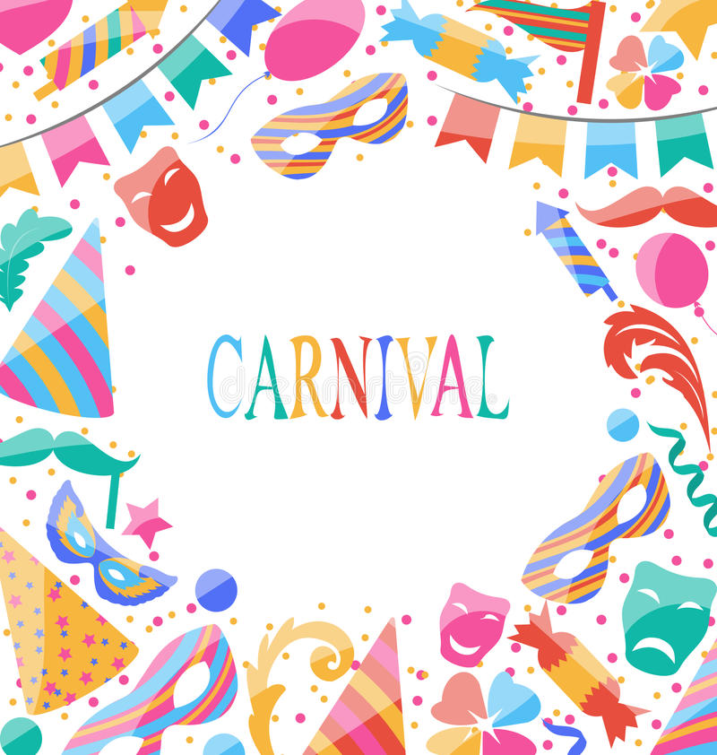 Free Celebration Carnival Card With Party Colorful Icons And Objects Royalty Free Stock Image - 49537656