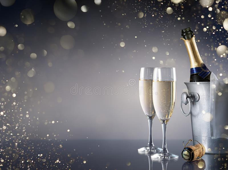 Celebration With Champagne - Pair Of Flutes royalty free stock photos