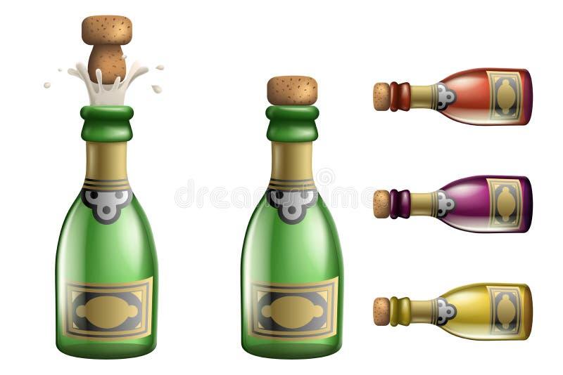 Celebration champagne Popping Cork Bottle Pledge Success Prosperity Symbol Drink Icons Set 3d Realistic Template Vector. Celebration champagne Popping Cork royalty free illustration