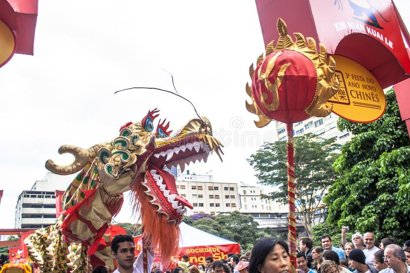 Celebration of Chinese New Year in Brazil stock photo
