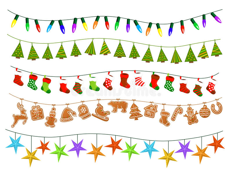 Celebration Christmas New Years Birthdays and other events garlands. Led lights bulbs lamps, patch stylized geometric green xmas trees, gingerbread cookies vector illustration