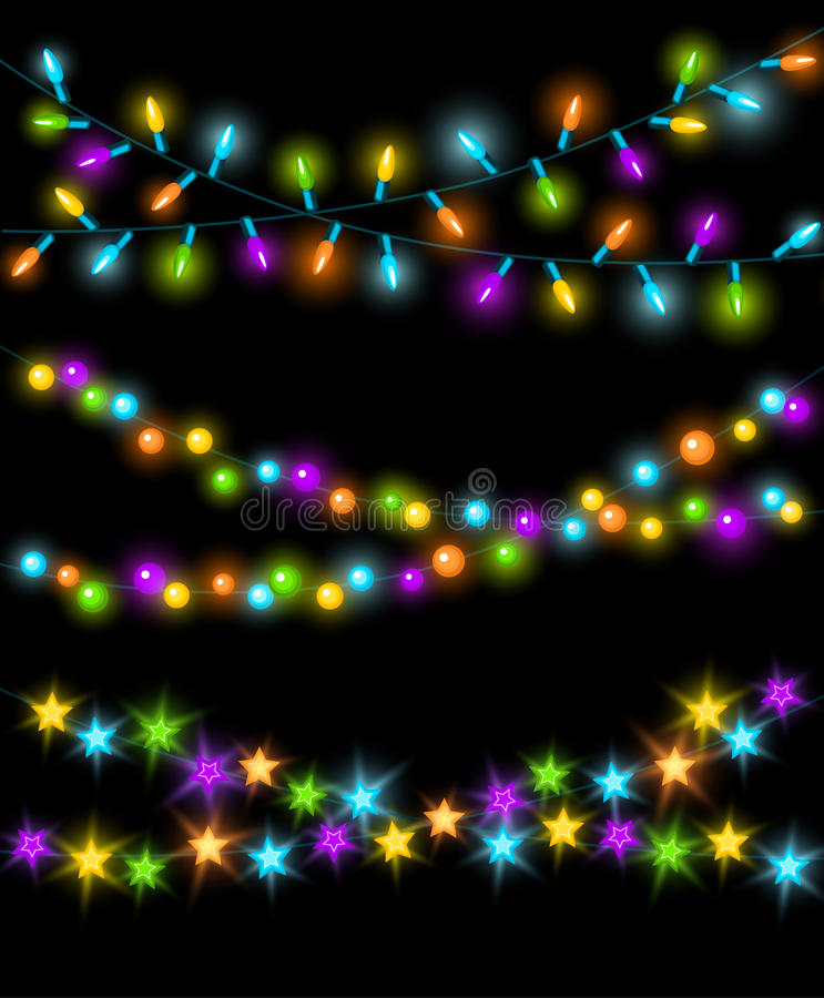 Celebration Christmas New Years Birthdays and other events glowing colorful led lights bulbs lamps, circles and stars. Hanging garland background royalty free illustration