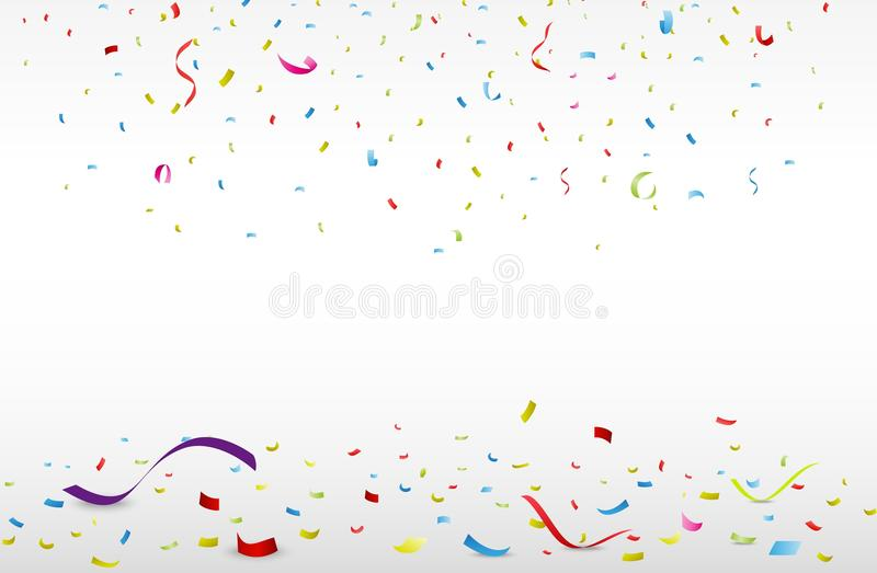 Download Celebration With Colorful Ribbon And Confetti Stock Vector - Illustration of celebration, design: 39512820