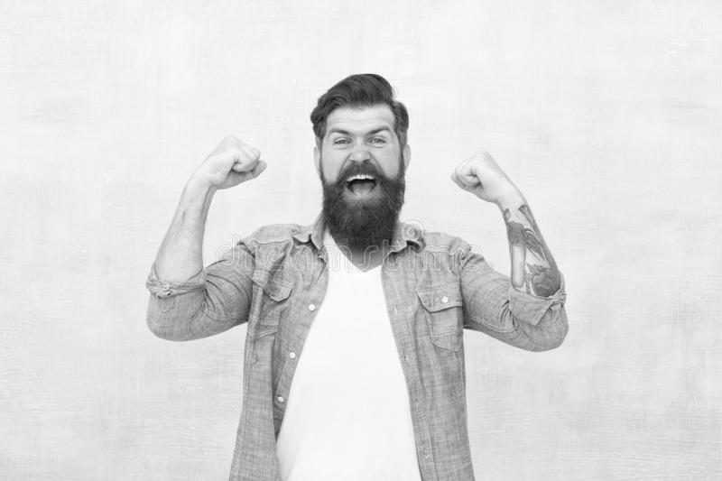 Celebration concept. Bearded man trendy hipster style. Cheerful mood. Happiness and joy. Hipster with beard and mustache stock photos