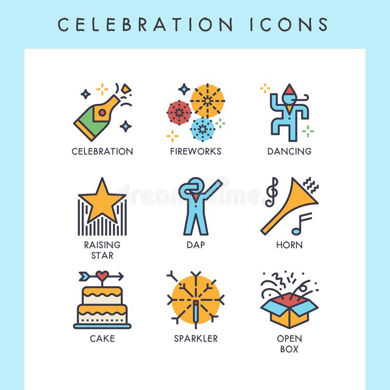 Celebration cute line icons. Celebration line icons for web, app, website, user interface, card, etc vector illustration
