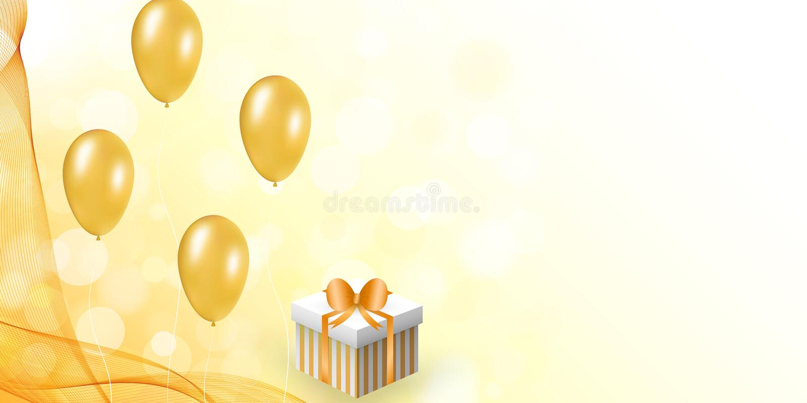 Celebration design with balloon, gift box, veil. vector illustration
