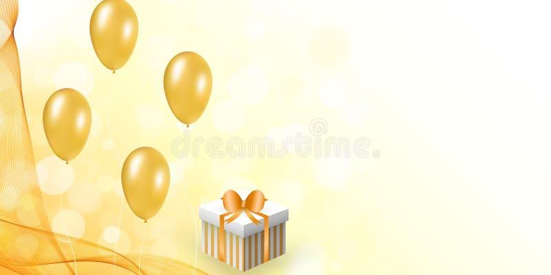 Celebration design with balloon, gift box, veil. vector illustration