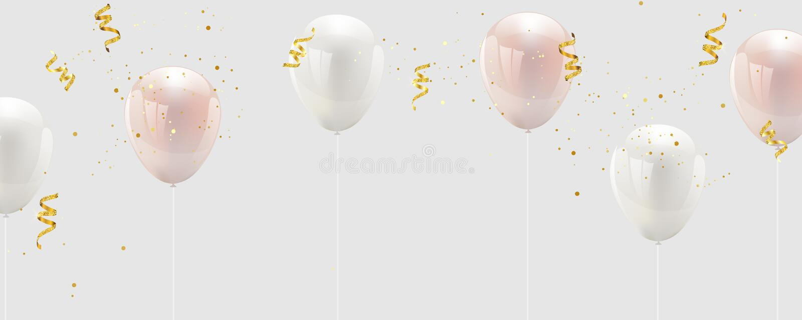 Baloon color pink and white, confetti and gold ribbons. luxury greeting rich card stock illustration