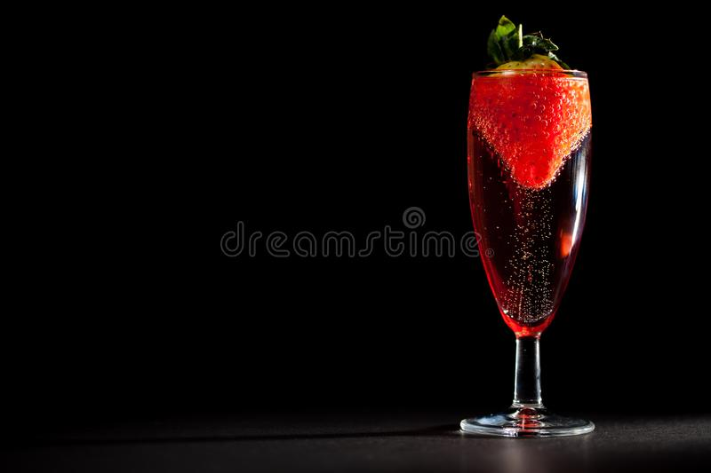 Celebration drink. Glass of sparkling pink Champagne wine with s royalty free stock photography